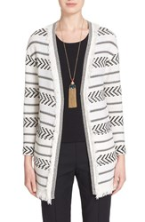 Women's St. John Collection 'Darya' Fringe Trim Stripe Knit Cardigan