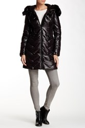 Vince Camuto Faux Fur Collar Mid Length Down Jacket Black