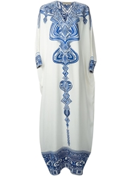 Emilio Pucci Embroidered Long Kaftan Dress White