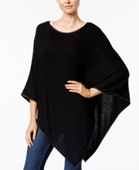 Charter Club Faux Leather Trim Poncho Only At Macy's Deep Black