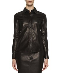 Tom Ford Perforated Leather Blouse Black