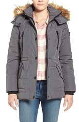 Women's Guess 'Expedition' Short Quilted Parka With Faux Fur Trim