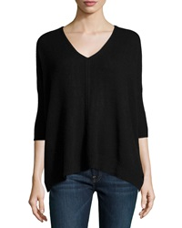 Christopher Fischer Cashmere Boxy 3 4 Sleeve V Neck Sweater Black
