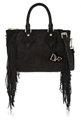 Diane Von Furstenberg Voyage Boho Fringed Nubuck Shoulder Bag Black