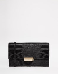 Warehouse Textured Snake Bar Clutch Black