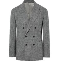 Camoshita Grey Slim Fit Unstructured Checked Wool Blazer Dark Gray