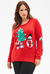 Forever 21 Jingle Bells Holiday Sweater Red Multi