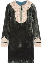Anna Sui Crochet Lace Trimmed Velvet Mini Dress Green