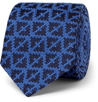 Marwood Knitted Wool And Silk Blend Tie Blue