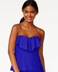 Hula Honey Ruffle Popover Bandeau Tankini Top Women's Swimsuit Royal