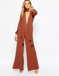 Glamorous Tie Neck Jumpsuit With Wide Leg Rust