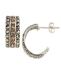 Lord And Taylor Embellished Cuff Hoop Earrings Champagne Silver
