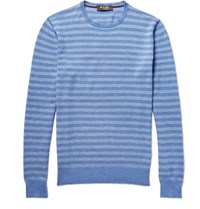 Loro Piana Striped Cotton Silk And Cashmere Blend Sweater Blue