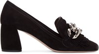 Miu Miu Black Suede Loafers