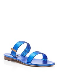 Sjp By Sarah Jessica Parker Wallace Metallic Open Toe Flat Slide Sandals Blue