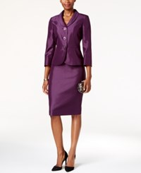 Le Suit Shiny Three Button Skirt Eggplant