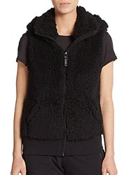 Andrew Marc New York Hooded Fleece Vest Black