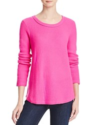 Aqua Cashmere Waffle Knit Raw Edge Cashmere Sweater Neon Pink