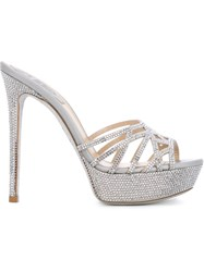 Rene Caovilla Crystal Embellished Sandals Metallic