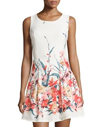 Romeo And Juliet Couture Sleeveless Floral Print Fit And Flare Dress Ivory Multi