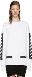 Off White White Brushed Diagonals Pullover