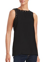 Romeo And Juliet Couture Sleeveless Grommet Top Black