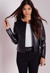 Missguided Collarless Faux Leather Jacket Black Black