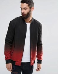 Religion Dip Dye Sweat Bomber Jacket Soft Red Black