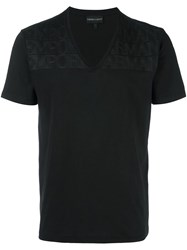 Emporio Armani V Neck T Shirt Black