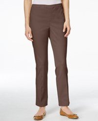 Karen Scott Petite Straight Leg Twill Pants Only At Macy's Brown Clay