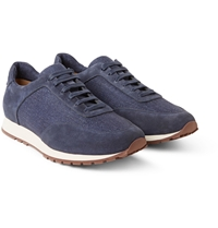 Loro Piana Weekend Walk Suede And Linen Panelled Sneakers