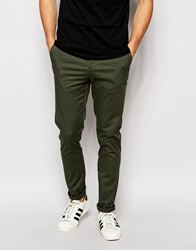 Asos Skinny Chinos In Dark Khaki Forestnight