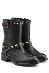 Red Valentino Leather Ankle Boots Black