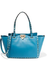 Valentino The Rockstud Small Leather Trapeze Bag Bright Blue
