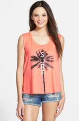 Living Doll 'Surf Palm' Graphic Tank Juniors Neon Pink