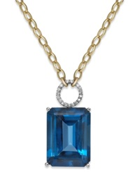 Macy's Blue Topaz 26 Ct. T.W. And Diamond 1 6 Ct. T.W. Pendant Necklace In 14K Gold
