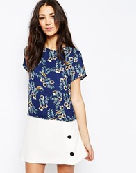 Sugarhill Boutique Top In Tropical Bird Print Navy