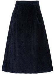 Cacharel Corduroy A Line Skirt Blue