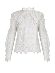 Self Portrait Cut Out Floral Lace Ruffled Top White