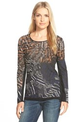 Nic Zoe 'Dark Tropics' Print Scoop Neck Sweater Multi