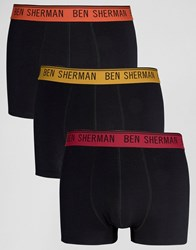 Ben Sherman 3 Pack Boxers With Colour Waist Band Black