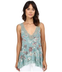 Free People Bellflower Printed Tunic Green Combo Women's Blouse