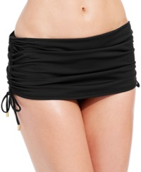 Calvin Klein Side Tie Ruched Swim Skirt Women's Swimsuit Black