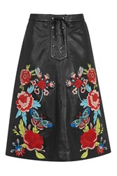 Topshop Rose Embroidered Midi Skirt Black