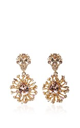 Oscar De La Renta Crystal Coral Earrings Gold