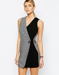 Love Overlay Tuxedo Dress In Fishbone Grey