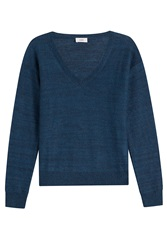 Closed Pullover With Wool Blue