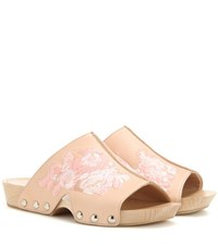 Alexander Mcqueen Embroidered Leather Clogs Pink