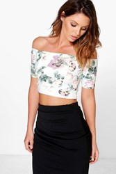 Boohoo Floral Off The Shoulder Top Multi