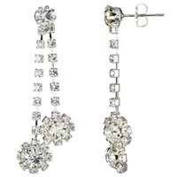 John Lewis Double Chain Cubic Zirconia Long Drop Earrings Silver